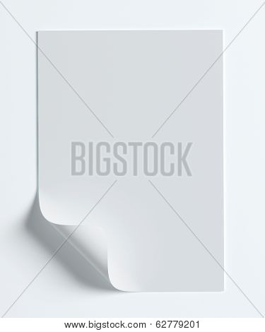 Blank Paper Page With Curl Isolated On White