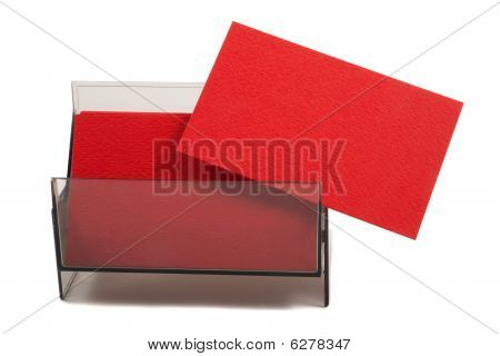 Blank business card in holder