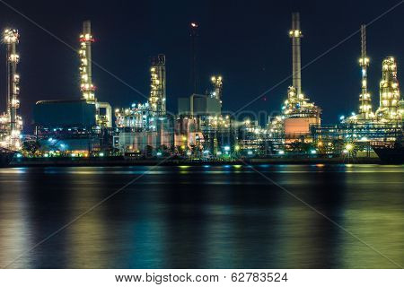 Oil Refinery At Night, Thailand