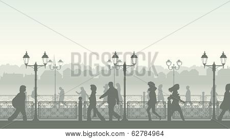 Vectorl Illustration Of Downtown Street With People.