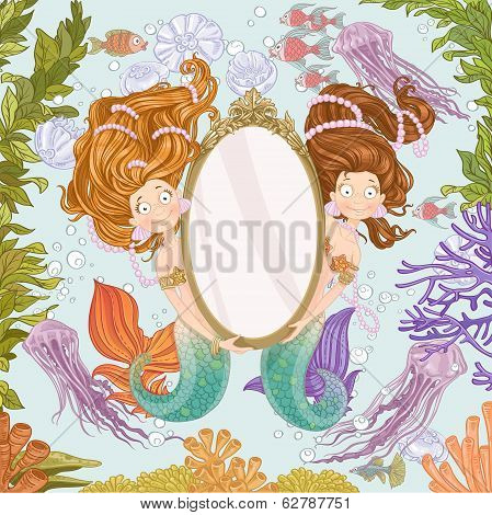 Two lovely mermaidholding a big mirror undersea