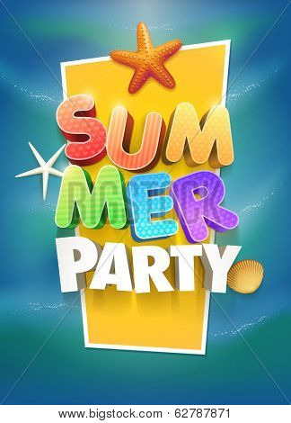 Summer Party Poster design template. Elements are layered separately in vector file.