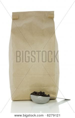Bag Of Coffee And Scoop On White With Clipping Path