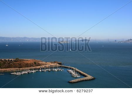 Elevated View Of Alcatraz And San Francisco Bay