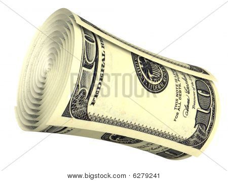 Rolled Dollar Banknote Isolated