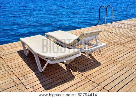 Lounge chairs on the Pier