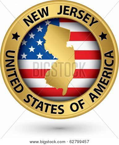 New Jersey state gold label with state map vector illustration poster