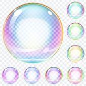 Set of multicolored transparent soap bubbles on a plaid background poster