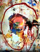 A fluid mixed media background painting with a circle. poster