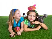 breeder hens kid sister farmer girls playing funny with chicken chicks on white background poster