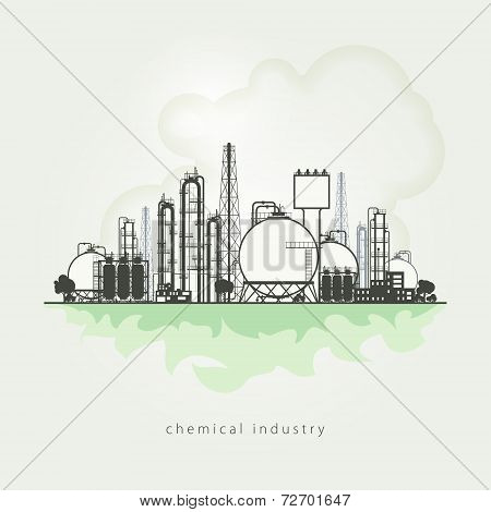 Illustration of a chemical plant or refinery processing of natural resources, or a plant for the man