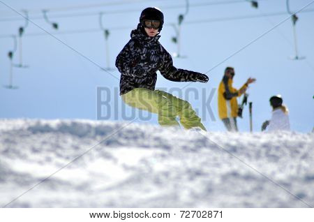 Snowboarder On Slope