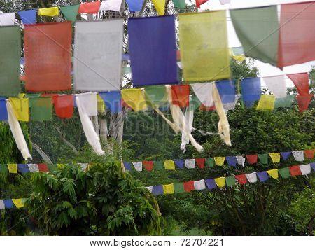 Traditional Nepali Prayer Flags At Lumbini