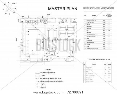 Plan industrial area. Buildings, lawns, fence and lists. Vector format poster