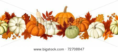 Horizontal seamless background with pumpkins and autumn leaves. Vector illustration.