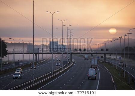 Fog In The Morning On Highway A28 Near Utrecht De Uithof