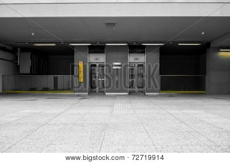 Modern building with an elevator closeup photo poster