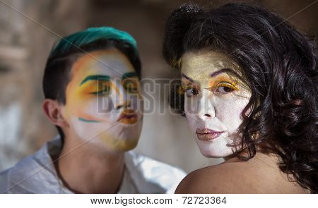 Clown Trying To Kiss Woman