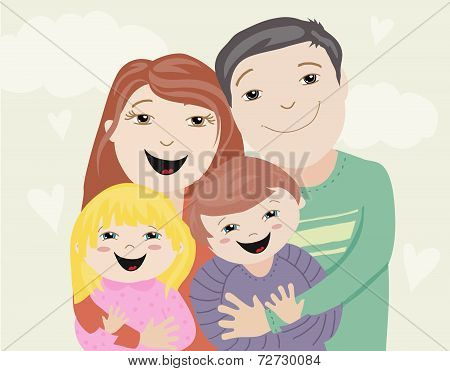 Illustration of a happy family