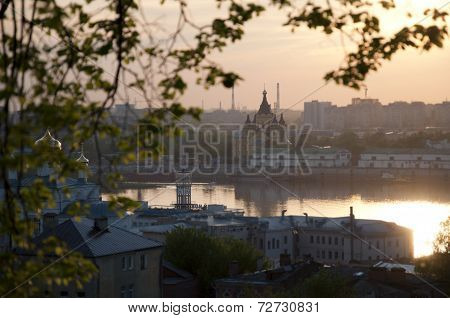 Panorama of Nizhny Novgorod - Cathedral on the background of two rivers - the Oka and Volga