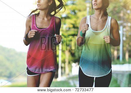beautiful fitness women jogging