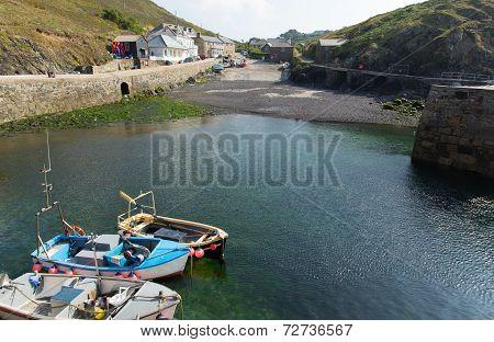 Mullion Cove harbour Lizard peninsula south Cornwall UK situated on Mounts Bay near Helston