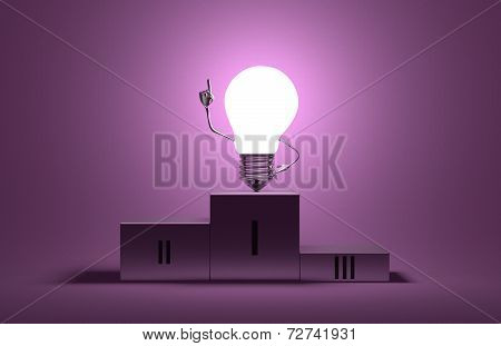 Glowing Light Bulb Character On Podium In Moment Of Insight