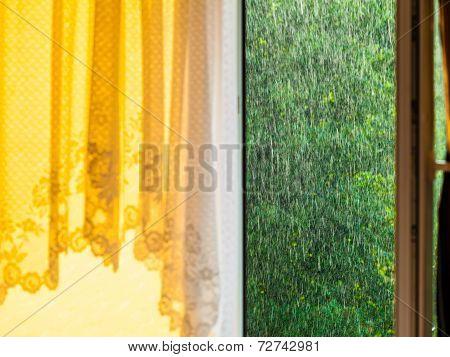 Rainy Outside Window. Downpour Rain.