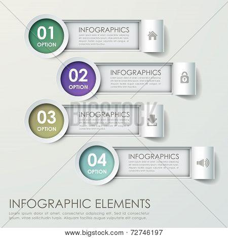 Modern Paper Bar Chart Infograpic Elements