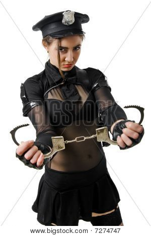 beautiful young policewoman with handcuffs