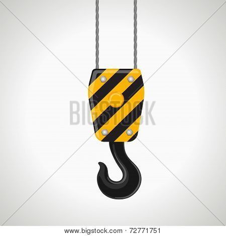 construction crane hook vector icon on white background