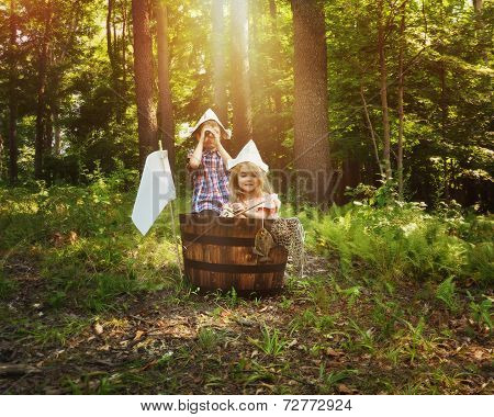 Children Fishing In Wooden Boat In Forest