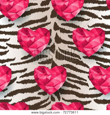 Chic vector seamless patterns tiling. Polygonal hearts poster