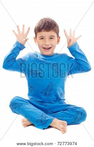 Naughty Boy In Pajamas On White Background