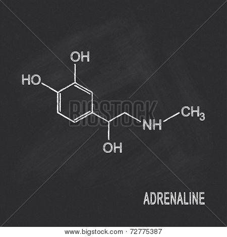 Chemical formula of adrenaline chalked on blackboard poster