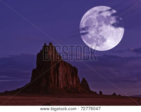 A Moonlit Shiprock, New Mexico, At Night