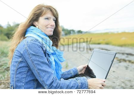 Woman 60 years old computer
