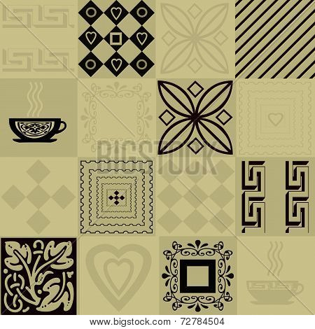 Patchwork seamless bright pattern with geometric elements and cup of coffee background poster