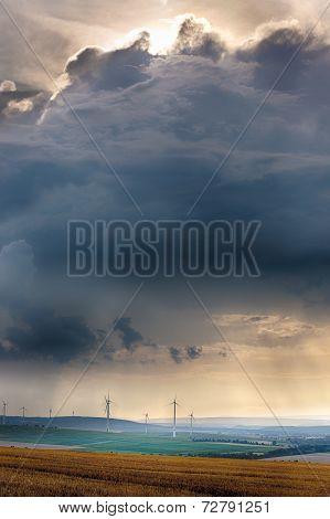 Wind generators with clouds near Alzey, Pfalz, Germany