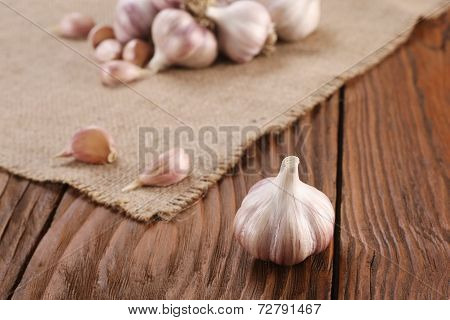 Garlic Close-up On Burlap