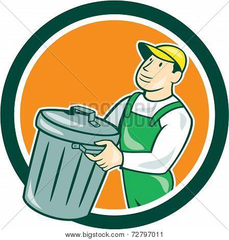 Garbage Collector Carrying Bin Circle Cartoon