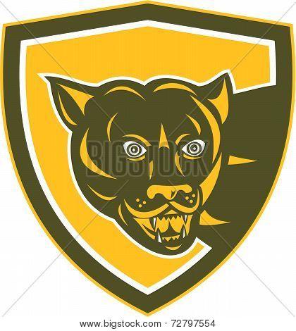 Puma Mountain Lion Head Prowl Shield Retro