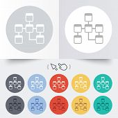 Database sign icon. Relational database schema symbol. Round 12 circle buttons. Shadow. Hand cursor pointer. Vector poster