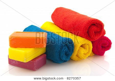 Colorful Rolled Towels With Soap