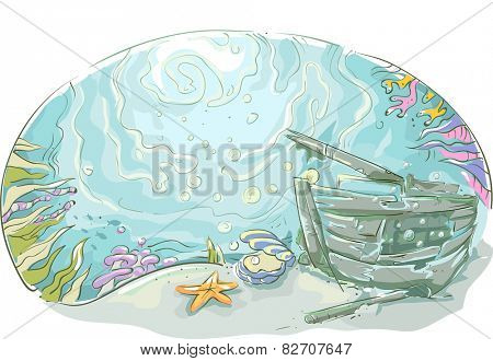 Underwater Illustration of a Shipwrecked Vehicle Lying at the Bottom of the Sea