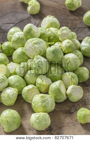 Brussels Sprouts On Wood