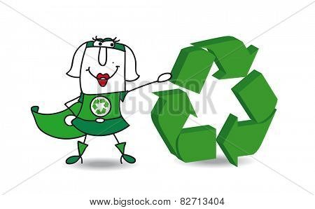 Super recycling woman with a recycling sign. Super recycling woman with a recycling sign. Save the earth