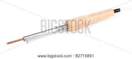 Electric soldering iron isolated on white