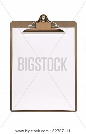 Ordinary clipboard with plain paper isolated on a white background. Space for copy. poster