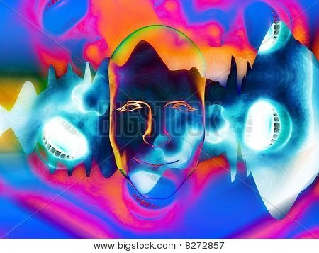 Face With Mouths And Soundwaves